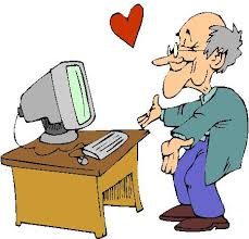 A person facing a computer with a heart floating between person and computer.