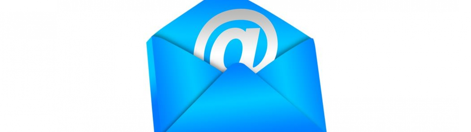 A blue envelope containing the @ sign.