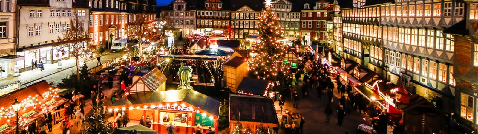 An aerial image of a Christmas Market in Wolfenbüttel